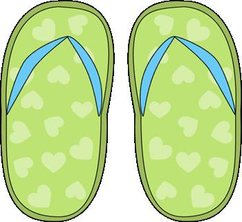 Green Heart Flip Flops