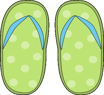Green Polka Dot Flip Flops