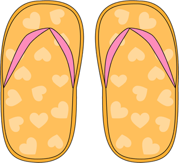Heart Pattern Flip Flops Clip Art
