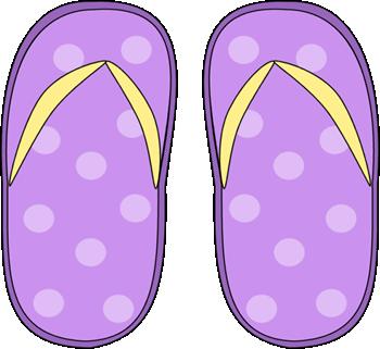 Purple Polka Dot Flip Flops Clip Art