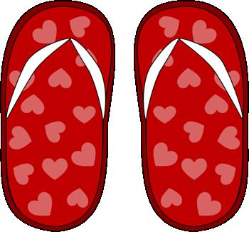 Red Heart Flip Flops Clip Art