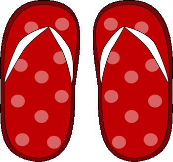 Red Polka Dot Flip Flops Clip Art
