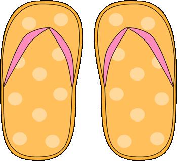 Yellow Polka Dot Flip Flops Clip Art