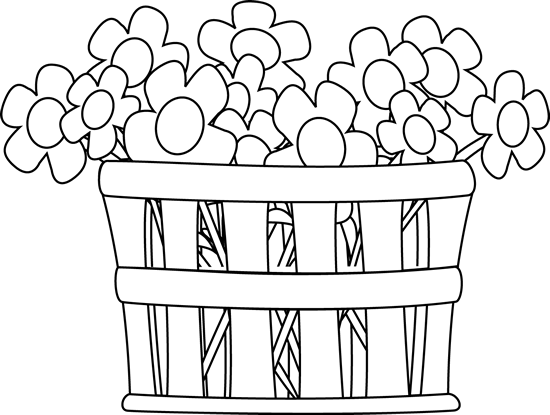 Basket Clip Art Black And White : Black and white basket of flowers clip art