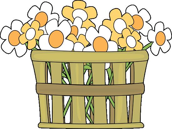 Basket Clip Art : Basket of flowers clip art image