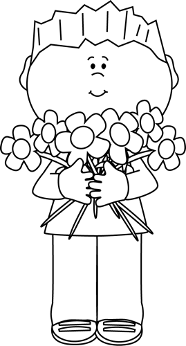 Black and White Boy Holding a Bunch of Flowers