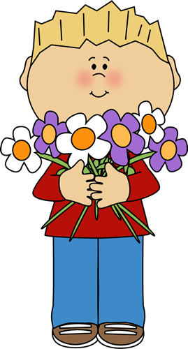 Boy Holding A Bunch Of Flowers