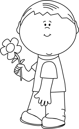 Black and White Boy Holding a Flower