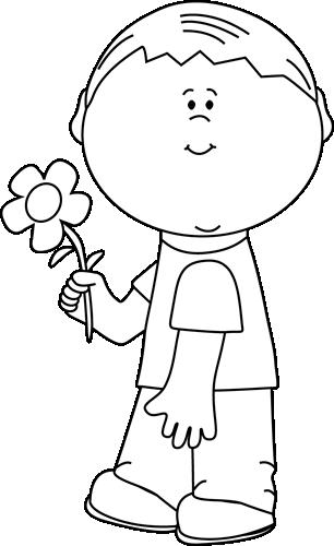 Flower clip art flower images black and white boy holding a flower mightylinksfo