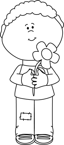 Black and White Boy with a Flower