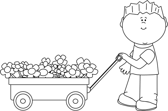 Black and White Boy with Flower Filled Wagon