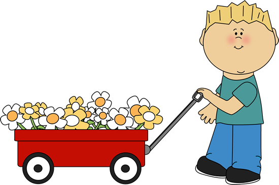 Boy with Flower Filled Wagon