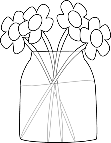 Black and White Flowers in a Jar