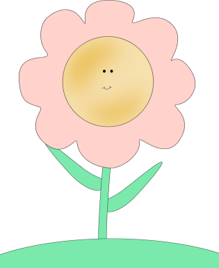 Happy Face Flower Clip Art Image - pink flower with a happy smiley face on a