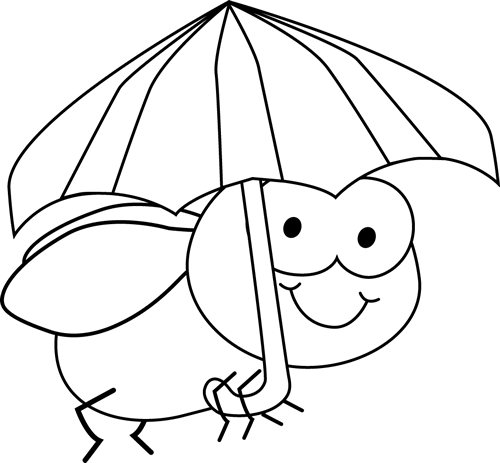 lack and White Fly and Umbrella