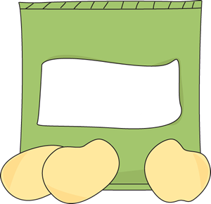 Bag of Potato Chips Clip Art Image - green bag of potato ...