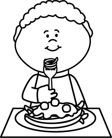 Black and White Boy Eating Spaghetti Clip Art - Black and ...