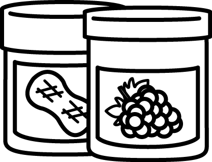 Black and White Jar of Peanut Butter and Jelly