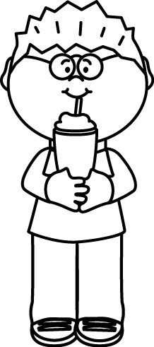 Black and White Kid Drinking a Milkshake Clip Art