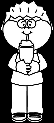 Black and White Kid Drinking a Milkshake