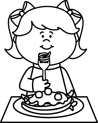 Black and White Kid Eating Spaghetti