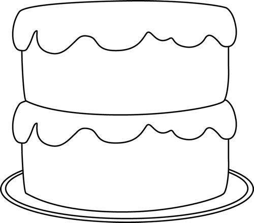 Black and White Cake on a Plate Clip Art - Black and White ...