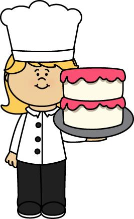 Chef with a Cake Clip Art