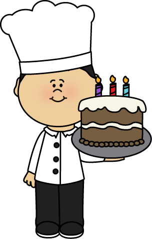 Chef with Birtday Cake Clip Art