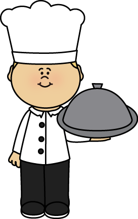 Chef with Platter Clip Art