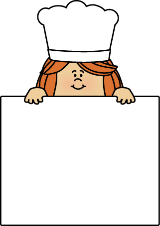 Female Chef with a Blank Sign Clip Art