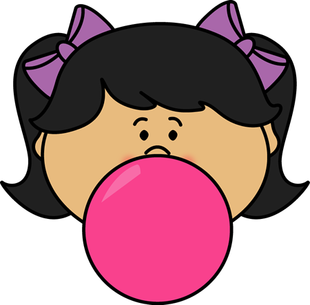Girl Blowing Bubblegum Bubble