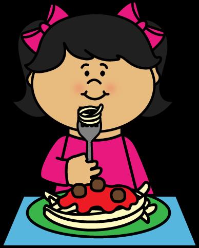 Kid Eating Spaghetti Clip Art - Kid Eating Spaghetti Image