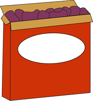 Raisins Clip Art Image - open box of raisins.