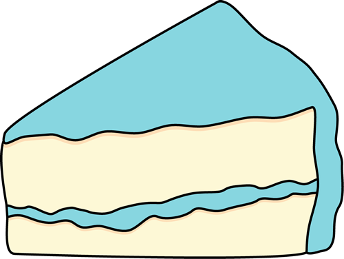 Slice of White Cake with Blue Frosting