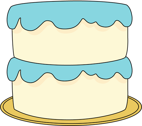 White Cake with Blue Frosting