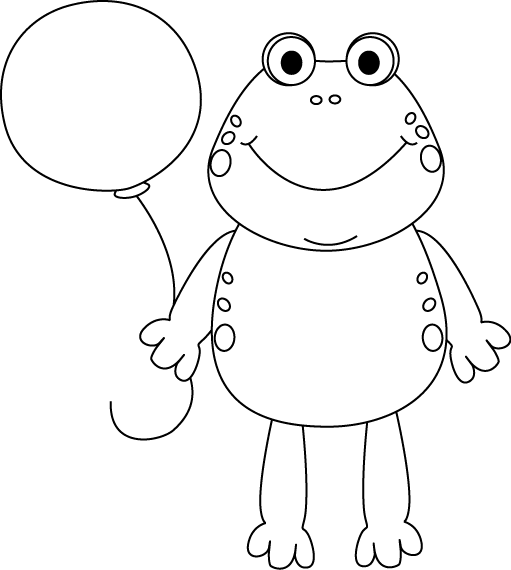 Black and White Frog with a Balloon Clip Art - Black and White ...