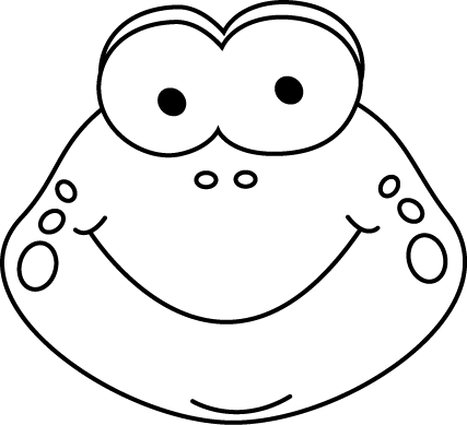 Black and White Cartoon Frog Face