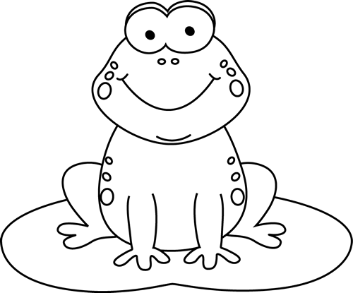 Black and White Cartoon Frog on a Lily Pad