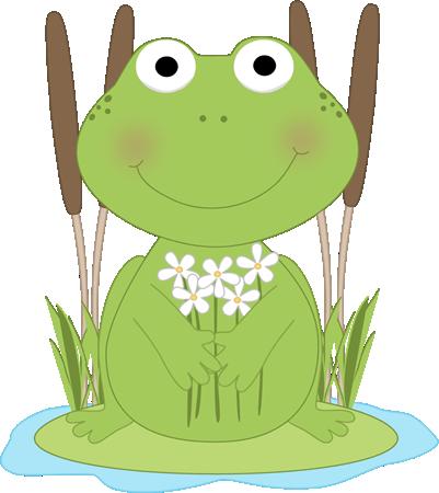 Frog Flower Pond Clip Art - Frog Flower Pond Image