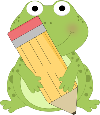 Frog Holding a Pencil