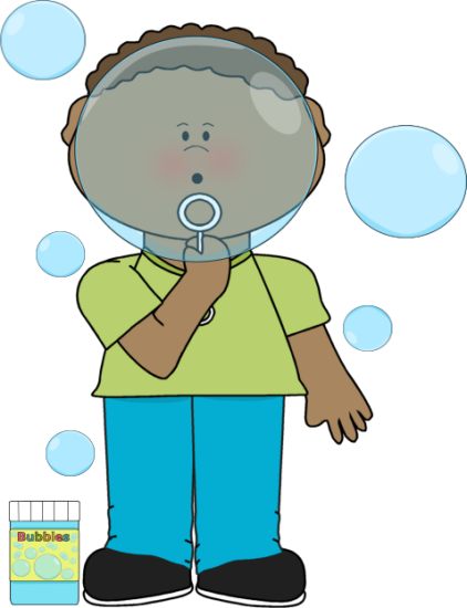 Boy Blowing Big Bubbles