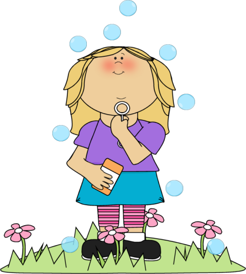 Girl in Flower Patch Blowing Bubbles