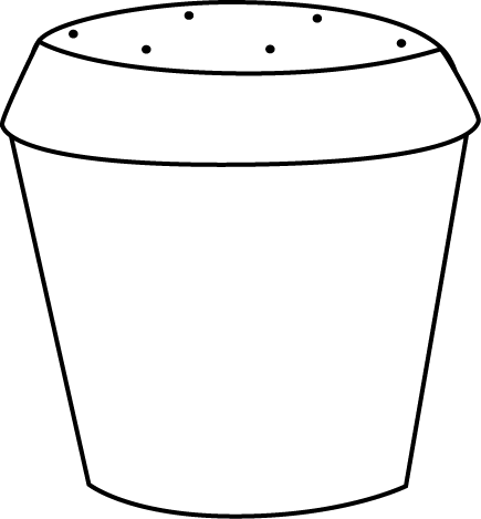 Black and White Dirt Filled Flower Pot