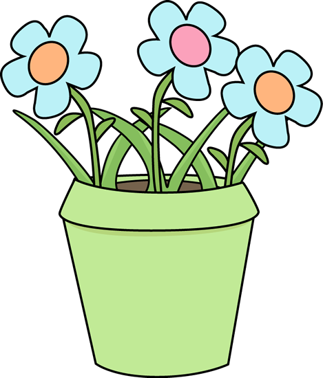 Flower Pot with Blue Flowers