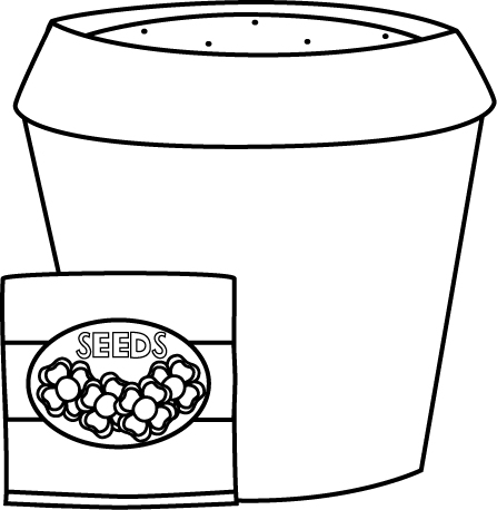 Black and White Flower Pot with Seeds