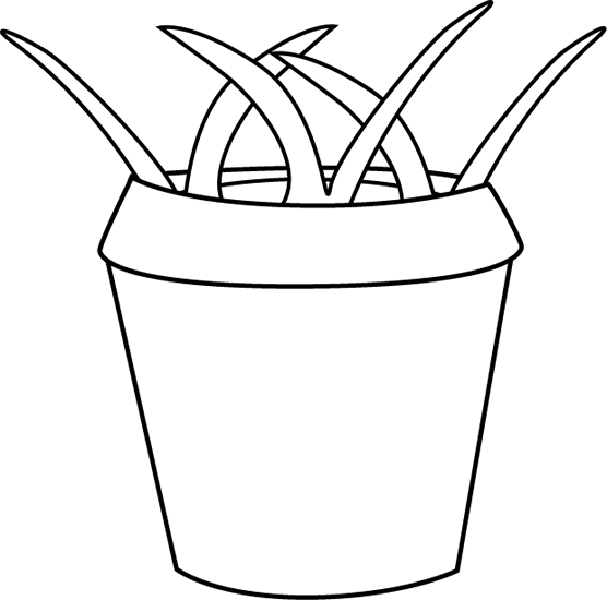 Black and White Flower Pot with Weeds