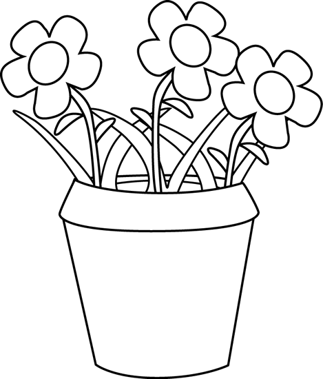 Flower Pot with Flowers and Weeds