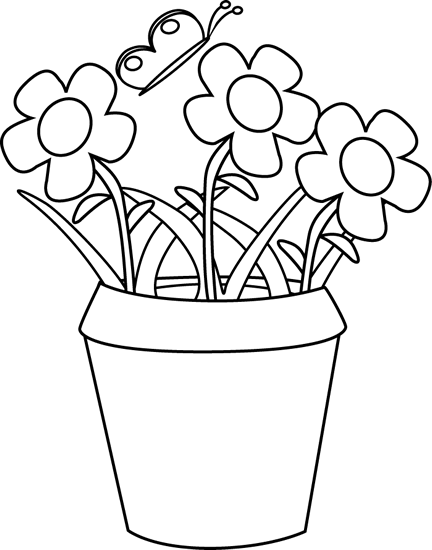 Black and white gardening flower pot clip art black and white black and white gardening flower pot mightylinksfo Image collections