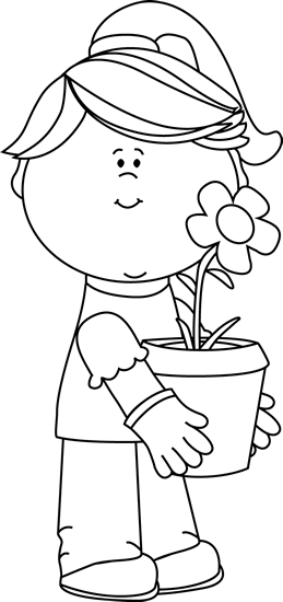 Black and White Girl Holding a Flower Pot