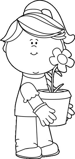 Black and White Girl Holding a Flower Pot
